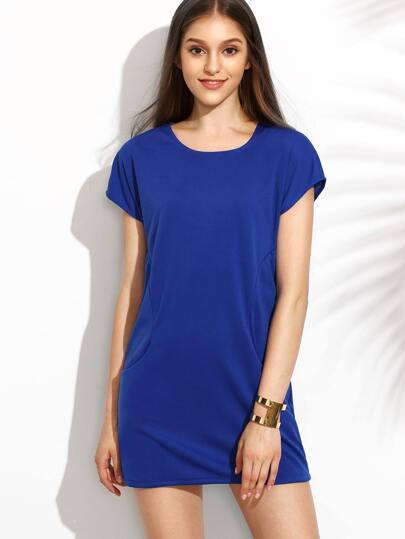 Blue Panel Dress With Pockets