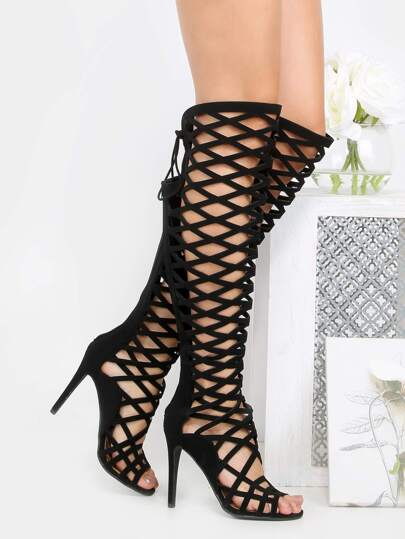 Lattice Cut Out Thigh High Heels BLACK