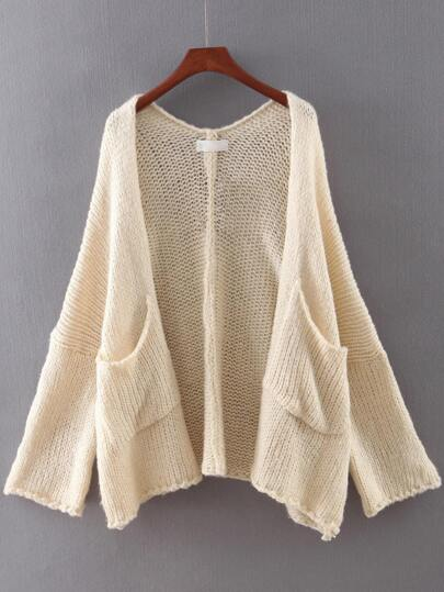 Beige Long Sleeve Pocket Cardigan