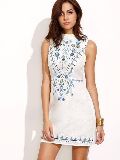 Beige Embroidered High Neck Sleeveless Sheath Dress