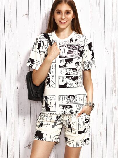 White Comic Print T-shirt With Shorts