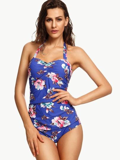 Blue Flower Print Shirred One Piece Swimwear
