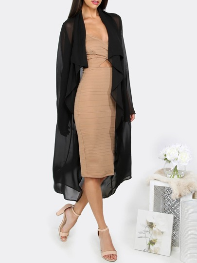 Black Lapel Self-tie Waist Midi Outwear