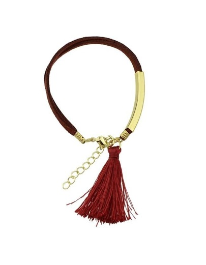 Red Pu Leather Bracelet With Tassel