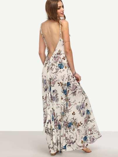 Multicolor Floral Spaghetti Strap V Neck Backless Dress