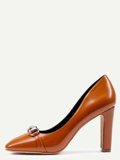 Brown Square Toe Metal Embellished Pumps