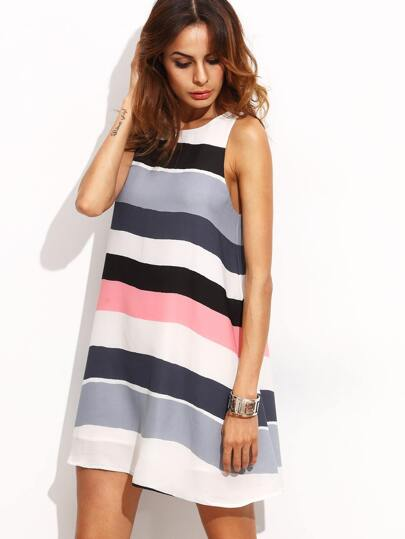 Multicolor Striped Sleeveless Shift Dress