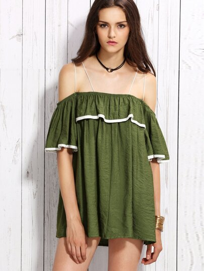 Green Contrast Trim Ruffle Strappy Cold Shoulder Dress