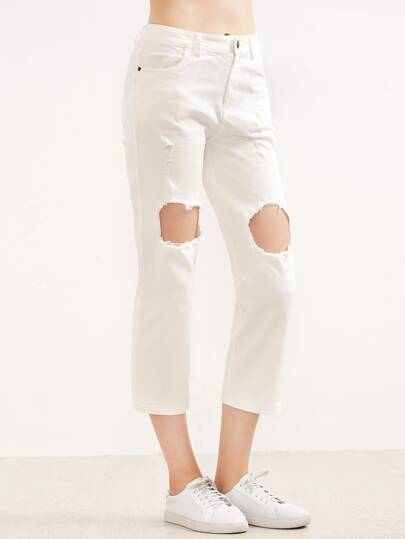 White Knee Ripped Pockets Pants