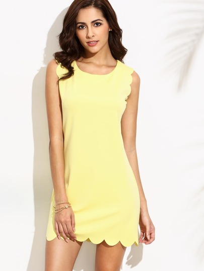 Yellow Scalloped Sleeveless Dress