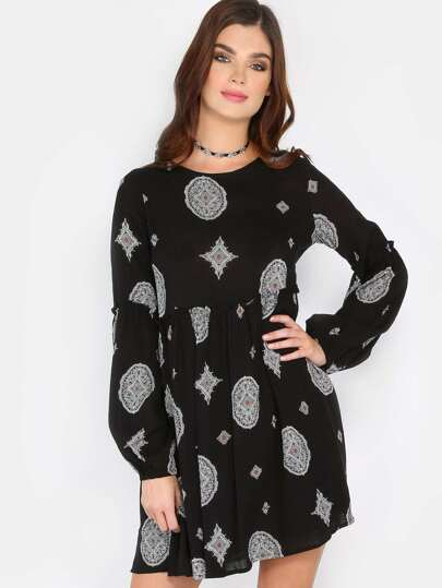 Ornate Long Sleeve Print Dress BLACK