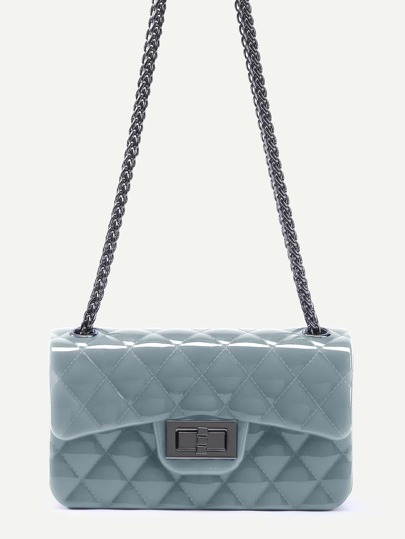 Grey Plastic Quilted Flap Bag With Chain