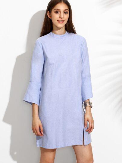 Blue Stand Collar Bell Sleeve Plain Dress