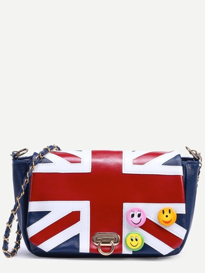 Blue Union Jack Patch Badge Detail Flap Bag