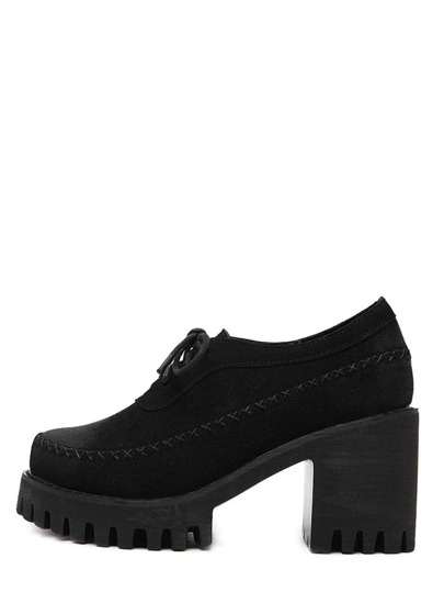 Black Round Toe Lace-up Chunky Pumps