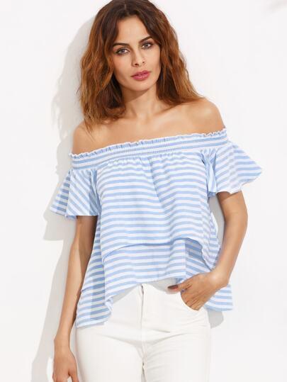 Синяя полосатая асимметричная блуза с открытыми плечами