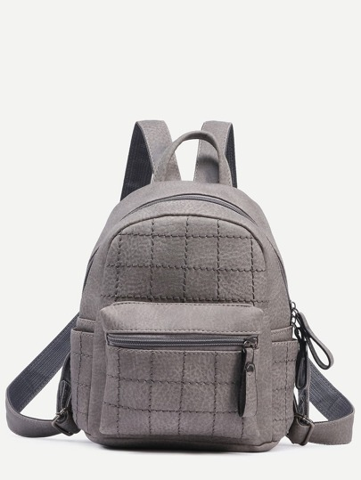 Grey Faux Leather Quilted Backpack