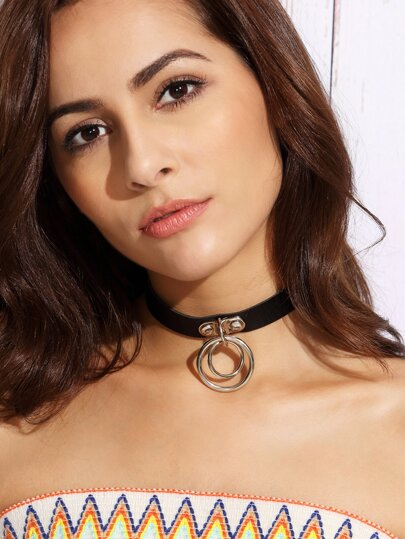Faux Leather Circle Pendant Choker