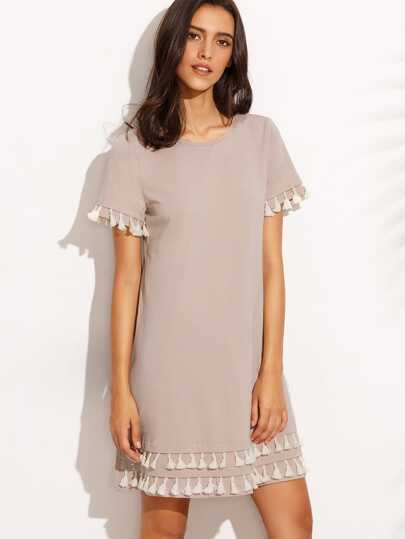 Dark Pink Tassel Hem Short Sleeve Shift Dress