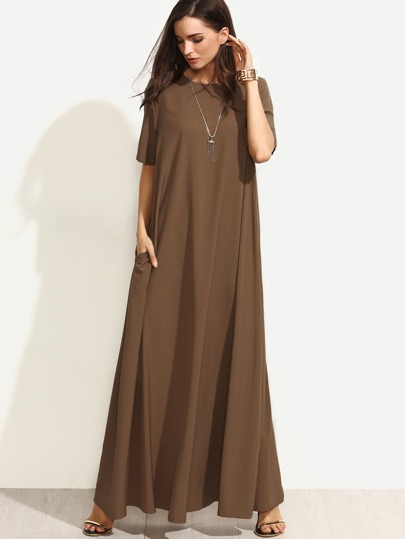 Brown Short Sleeve Zipper Back Maxi Dress