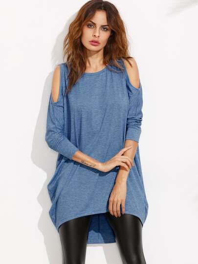Blue Cold Shoulder Three Quarter Sleeve High Low Dress