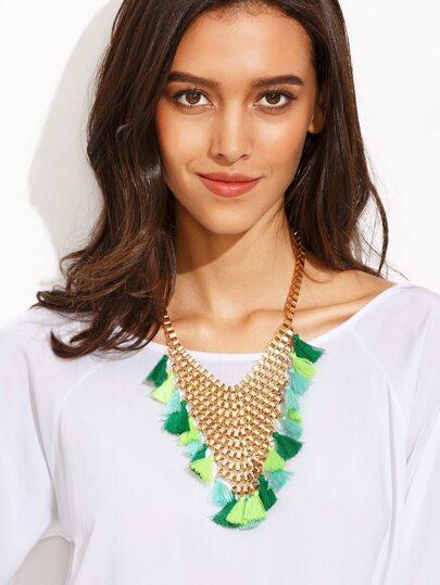 Gold Tassel Box Chain Statement Necklace