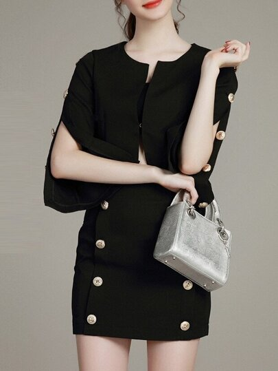 Black Split Sleeve Top With Skirt