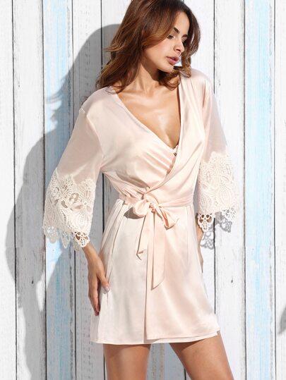 Kimono cache-cœur taille lacets avec dentelle - rose clair