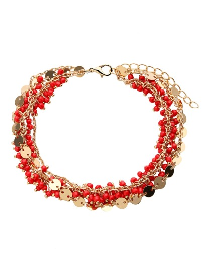 Red Beaded Coin Charm Layered Anklet