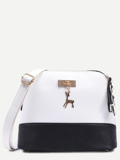 Contrast Metal Deer Charm Embellished Dome Bag
