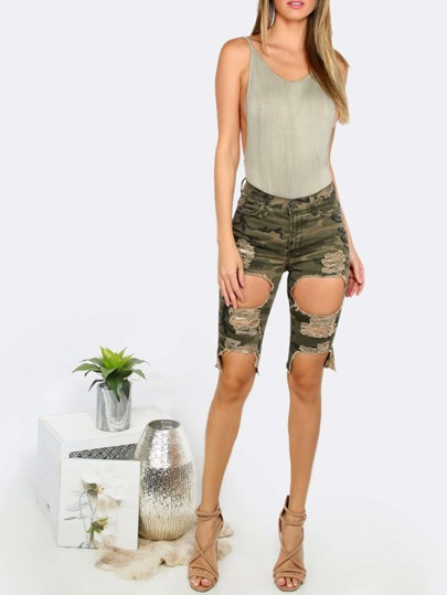 Drop Armhole Backless Cami Bodysuit