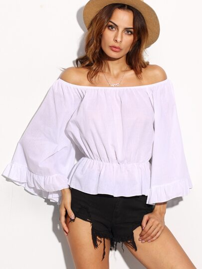 White Off The Shoulder Ruffle Peplum Top