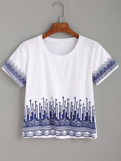 Giraffe Print Crop T-shirt