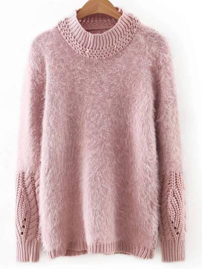 Pink Round Neck Plain Sweater