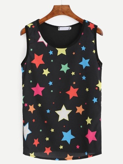 Black Star Print Tank Top
