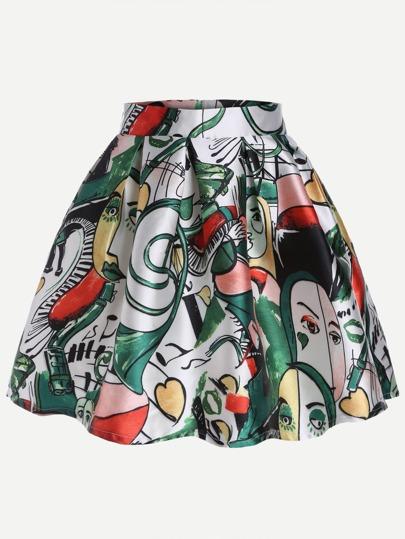 Multicolor Graffiti Print Pleated Flare Skirt
