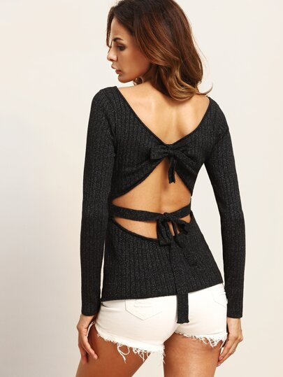 Black Tie Cut Out Back Knitted T-shirt