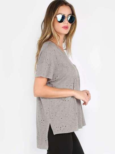 Distressed Scoop Neck T-Shirt OLIVE