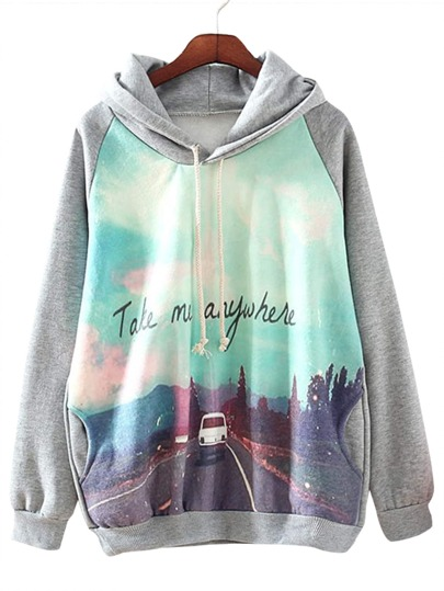 Heather Grey Road View Print Hooded Sweatshirt