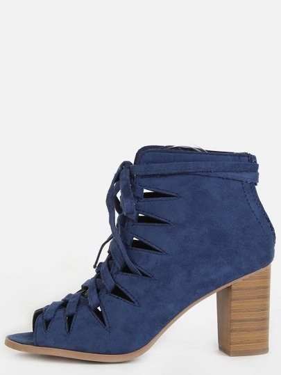 Faux Suede Lace Up Ankle Boots BLUE