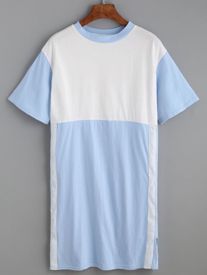 Color Block Contrast Trim Slit Side Tee Dress