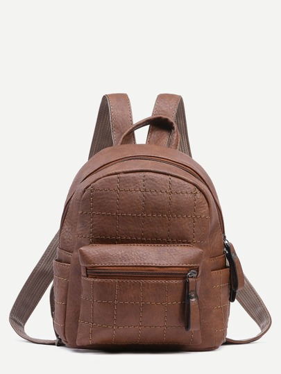 Coffee Faux Leather Quilted Backpack