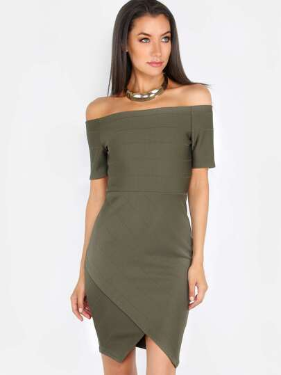 Bandage Off the Shoulder Dress OLIVE