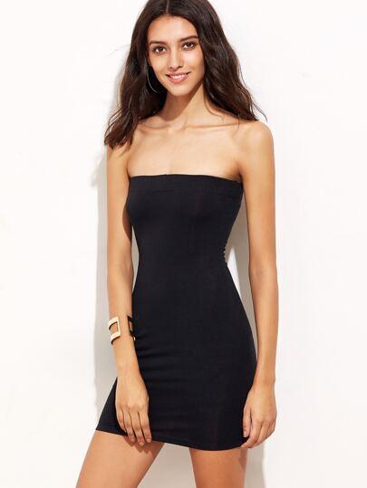 Black Backless Bandeau Bodycon Dress