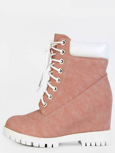 Chunky Lace Up Suede Boots BLUSH