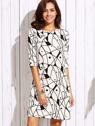 White Half Sleeve Printed Slim Dress