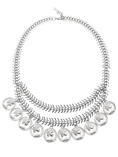 Silver Etched Coin Charm Fishbone Chain Necklace