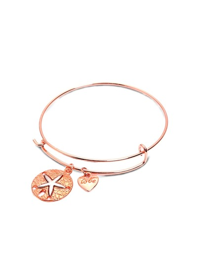 Rose Gold Starfish Relief Charm Expandable Bangle