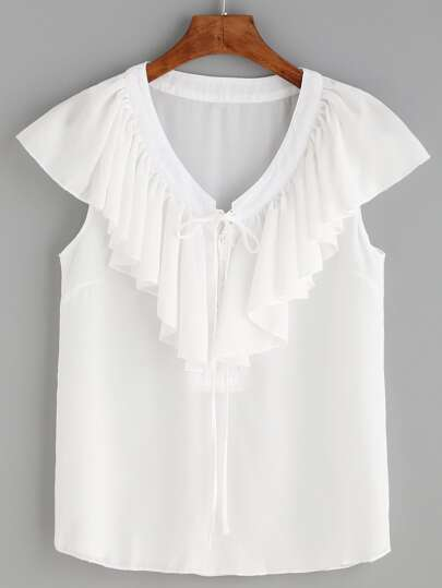 White V Neck Lace Up Ruffle Blouse