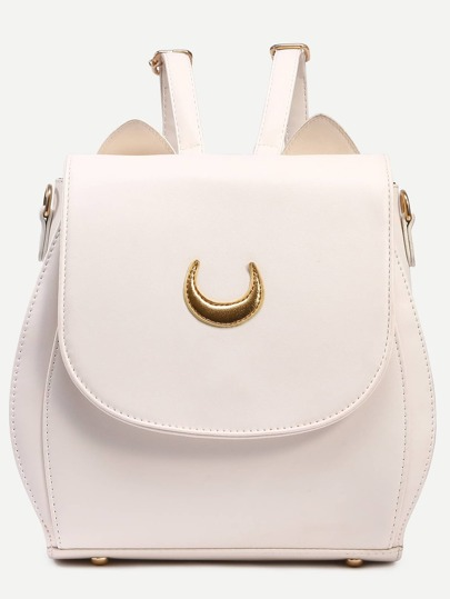 Ivory Crescent Patch Flap Backpack